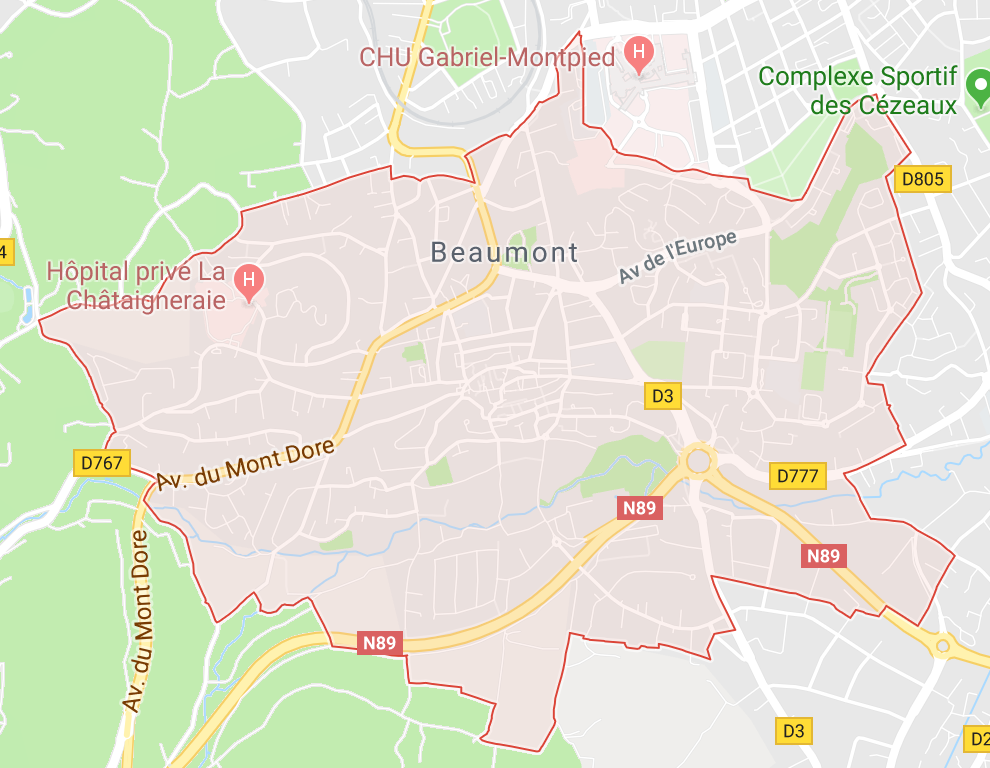 Carte GoogleMaps de la commune de La Beaumont (63110)